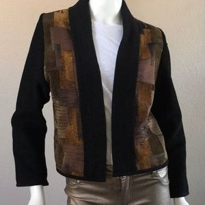 Classic Abstract Print Design Open Front Blazer